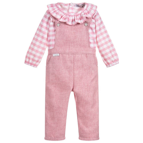 Babidu Pink Cotton Dungaree Set