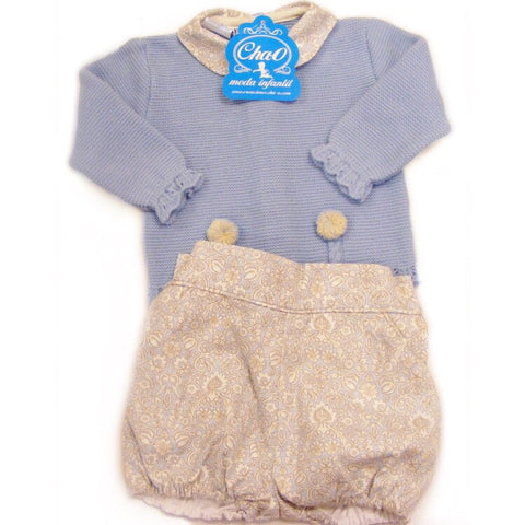 Cha-o Spanish Knitted Top With Collar & Pants Set