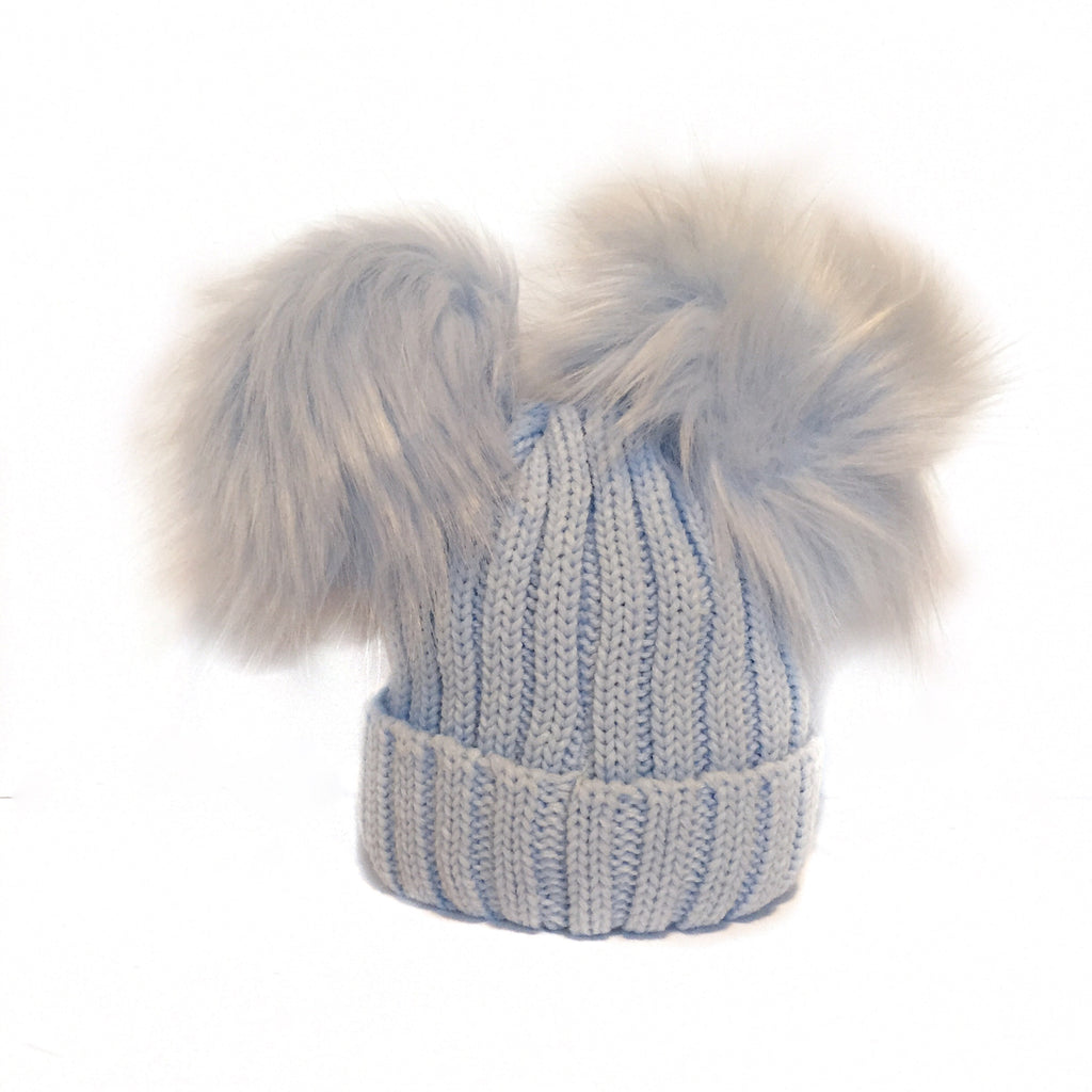 31bbd7ce917 Blue Double Pom Faux Fur Hat – Babamooche