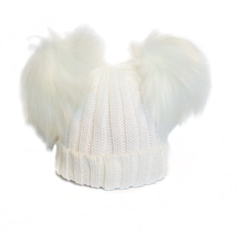 White Double Faux Fur Pom Hat