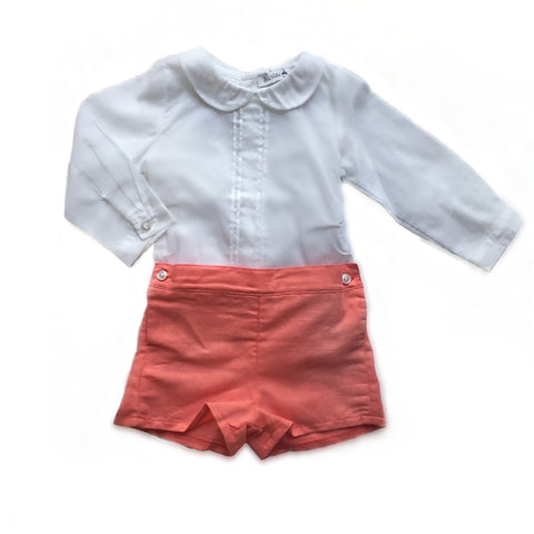 New season Boys coral and  white Peter Pan collar shirt outfit