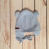 Baby Blue Double Pom-Pom Knitted Hat