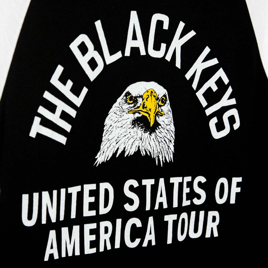 THE BLACK KEYS EAGLE RAGLAN T-SHIRT BLACK / WHITE DETAIL
