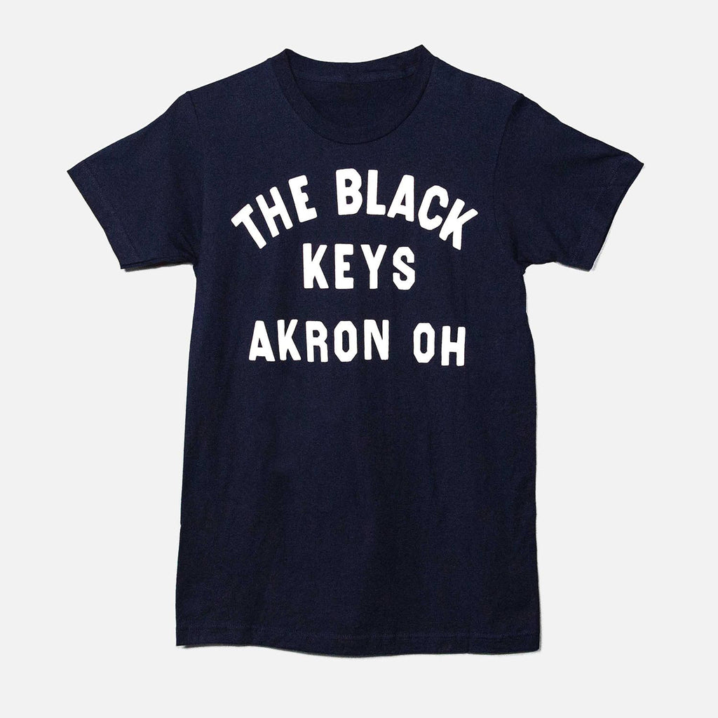 THE BLACK KEYS AKRON OH T-SHIRT NAVY FRONT