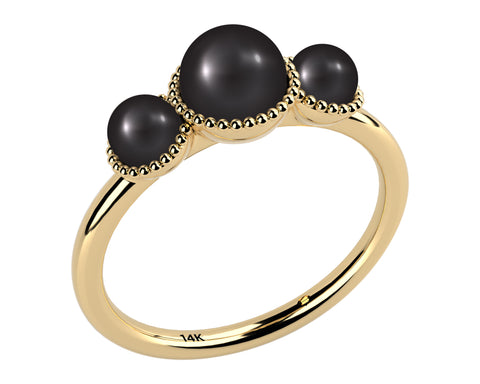 Black, Three Stone AAA Cultured Freshwater Pearl 14k Yellow Gold Ring