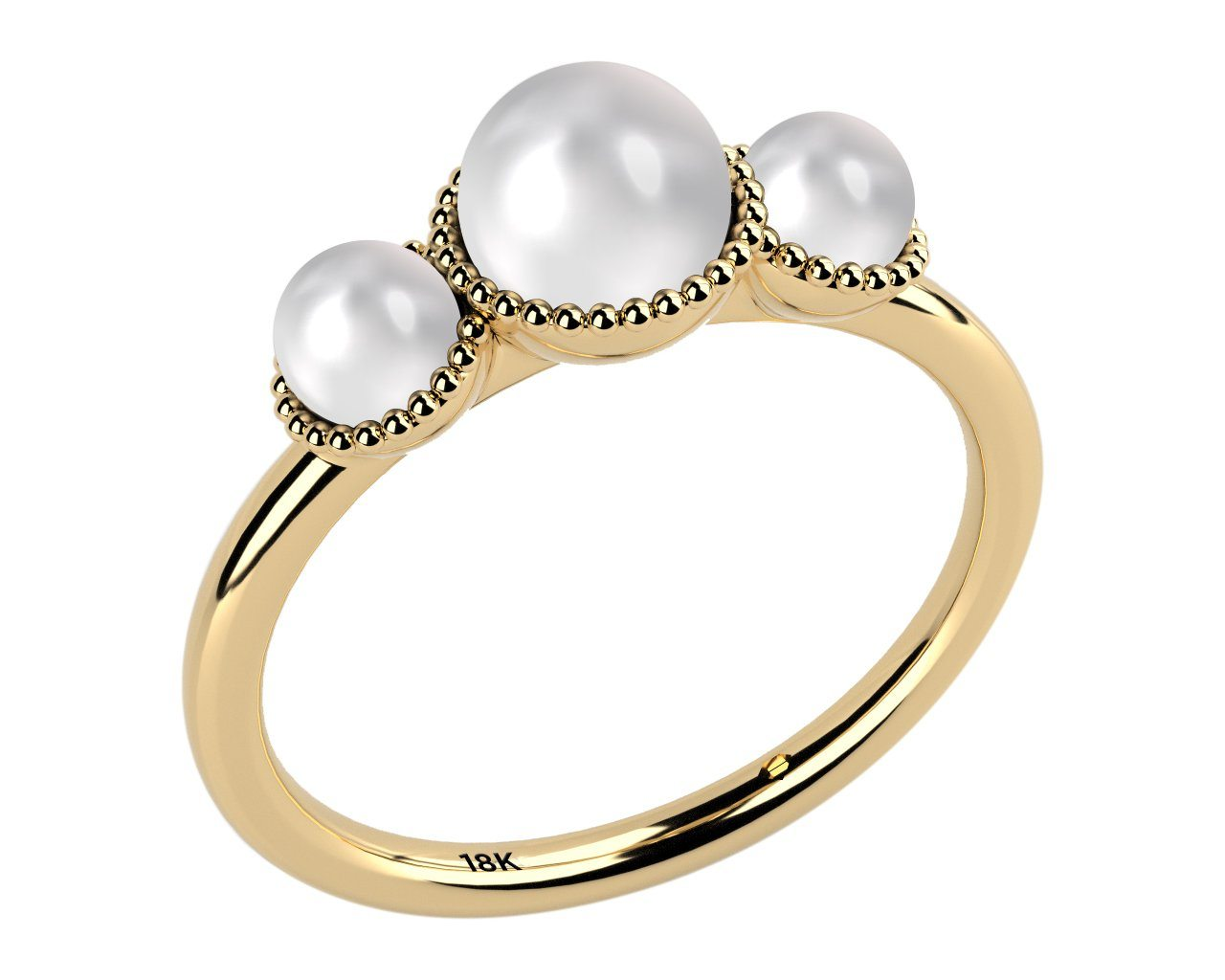 white, three stone aaa cultured freshwater pearl 18k yellow gold ring