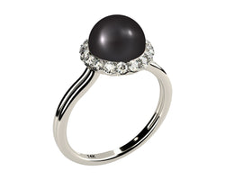 Double Shank Solitaire AAA Black Cultured Freshwater Pearl and Diamond Ring, Solid 14k White Gold