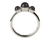 Black, Three Stone AAA Cultured Freshwater Pearl 18k White Gold Ring