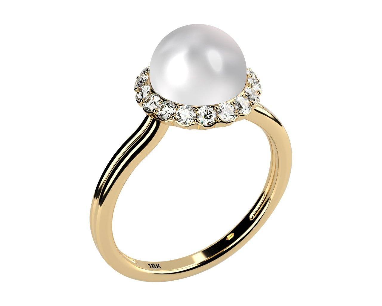 double shank solitaire pearl and diamond ring, solid 18k yellow gold