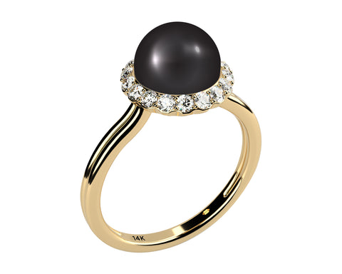 Double Shank Solitaire AAA Black Cultured Freshwater Pearl and Diamond Ring, Solid 14k Yellow Gold