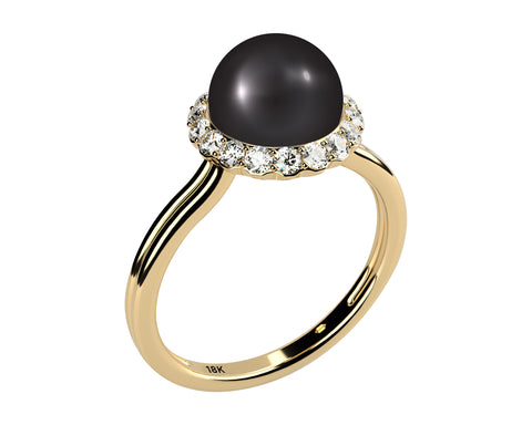 Double Shank Solitaire AAA Black Cultured Freshwater Pearl and Diamond Ring, Solid 18k Yellow Gold