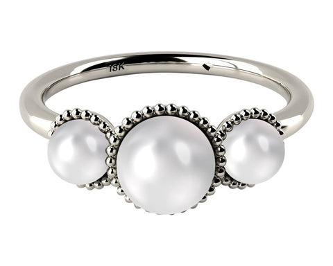 White, Three Stone AAA Cultured Freshwater Pearl 18k White Gold Ring