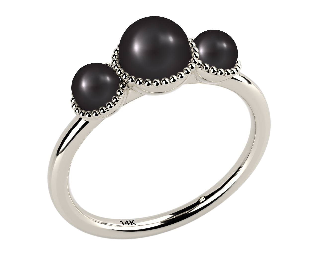 black, three stone aaa cultured freshwater pearl 14k white gold ring