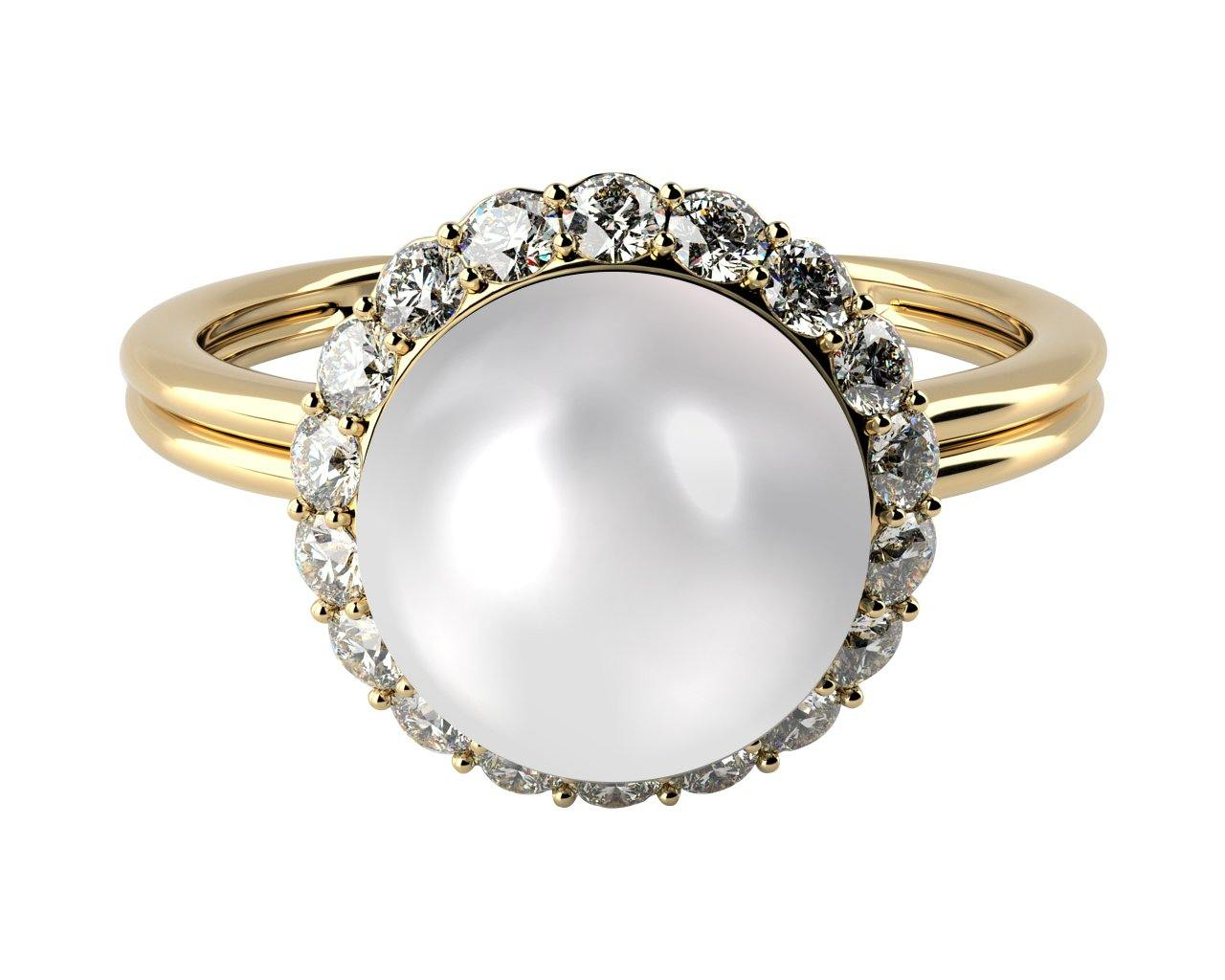 double shank solitaire pearl and diamond ring, solid 14k yellow gold