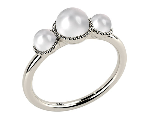 White, Three Stone AAA Cultured Freshwater Pearl 14k White Gold Ring