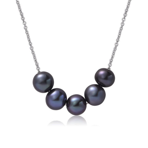Black 6-7mm Necklace Pearl Pendant White Gold Plated Chain