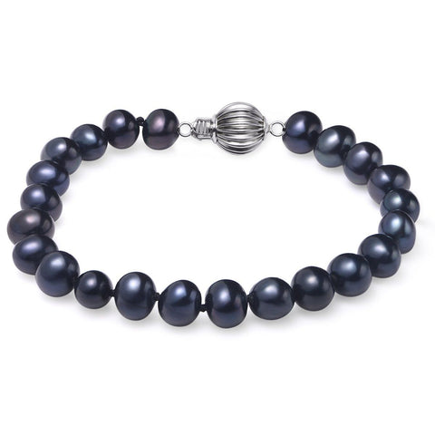 "Black, 7-8mm, AA, 7.5"", Cultured Freshwater Pearl Bracelet with 925 Sterling Silver Fluted Ball Clasp"