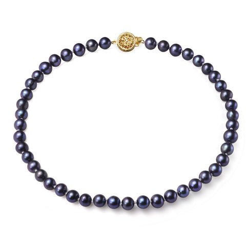 Black, 7-8mm, AA, Cultured Freshwater Pearl Strand Necklace with 14k Solid Gold Round Filigree