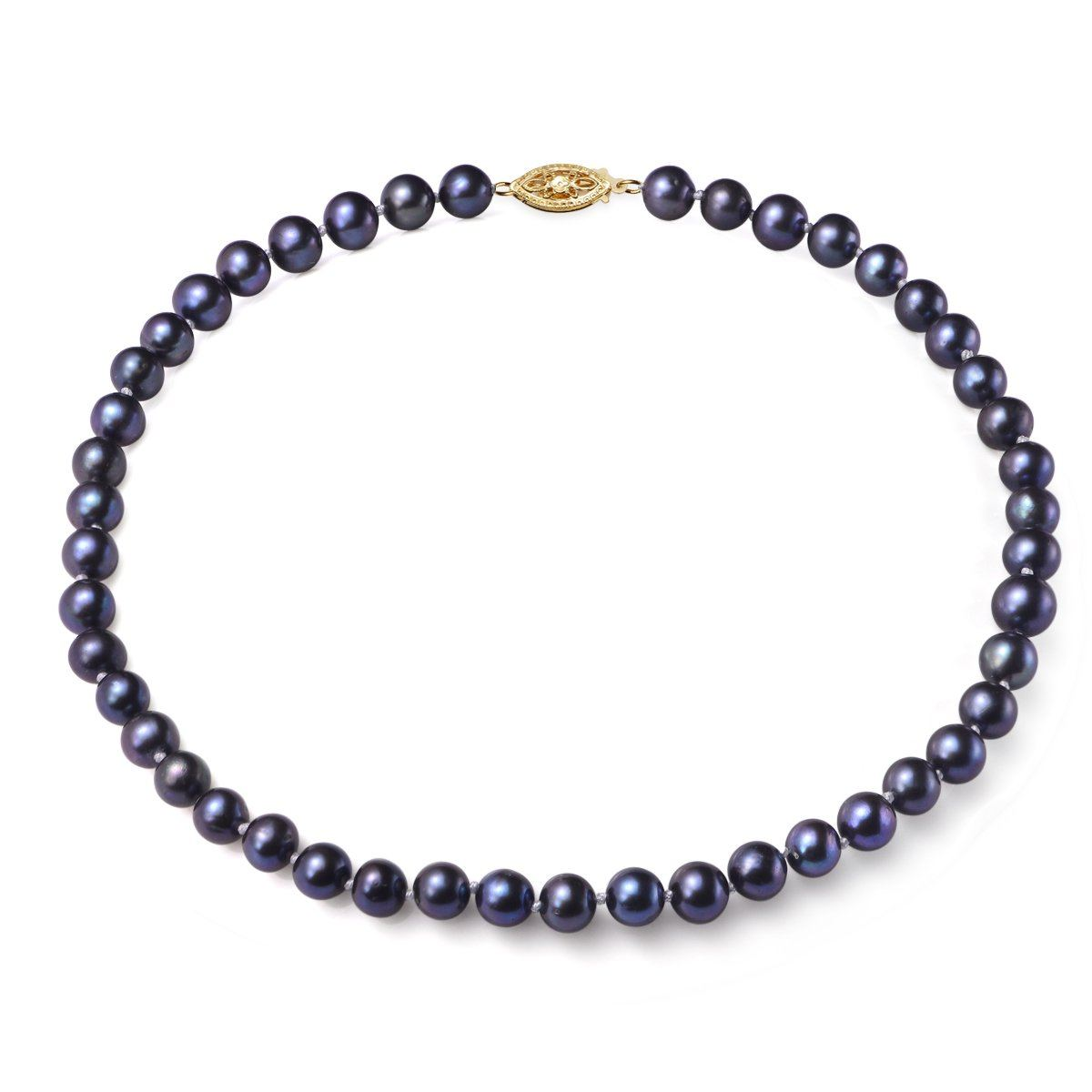 black, 7-8mm, aa, cultured freshwater pearl strand necklace with 14k solid yellow gold fish hook