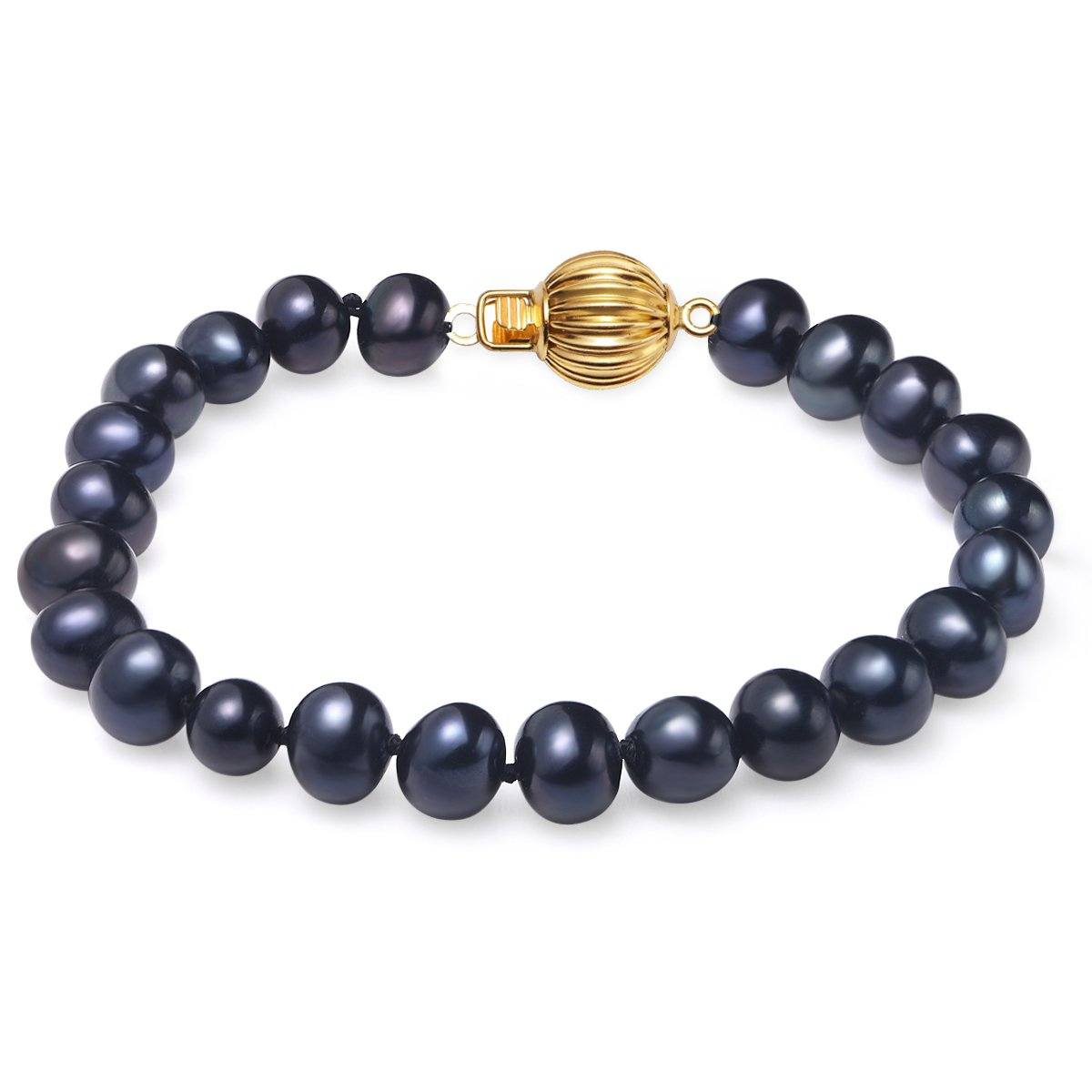 black, 7-8mm, aaa, cultured freshwater pearl bracelet with 14k solid yellow gold fluted ball
