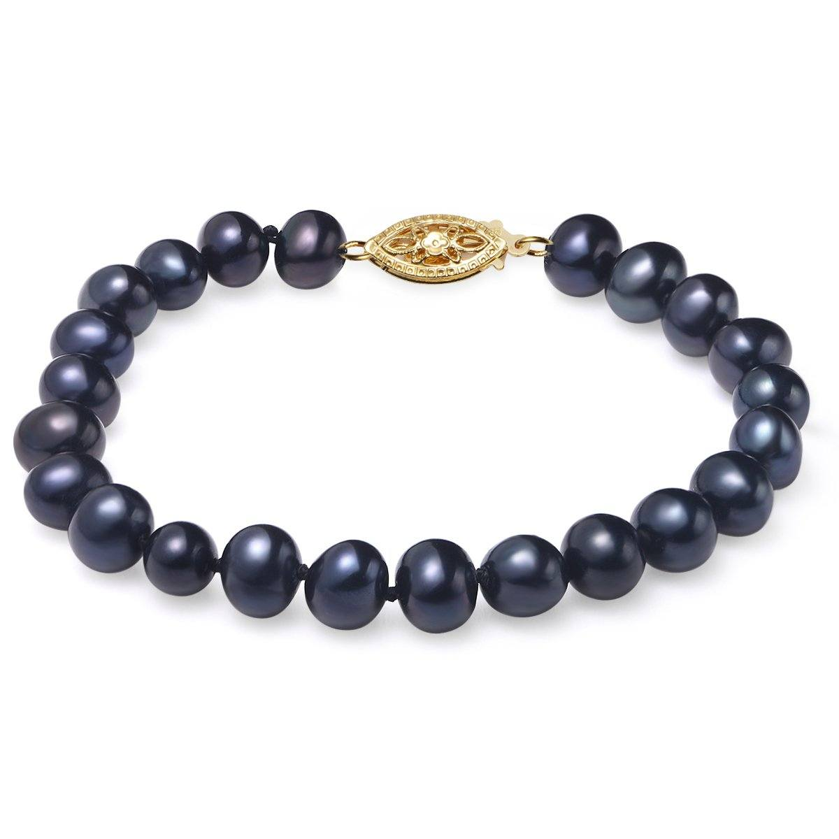 black, 7-8mm, aaa, cultured freshwater pearl bracelet with 14k yellow gold filled fish hook