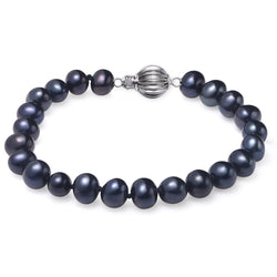 Black, 7-8mm, AAA, Cultured Freshwater Pearl Bracelet with 925 Sterling Silver Fluted Ball