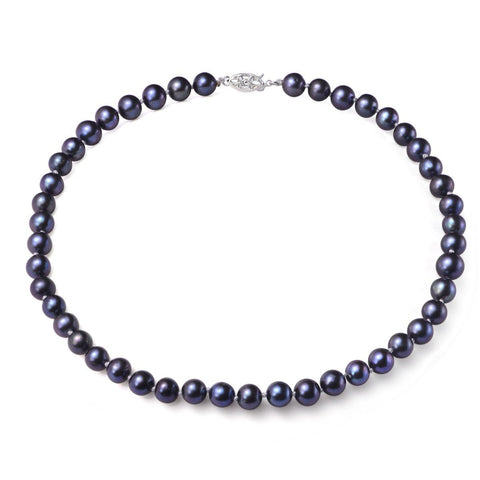 Black, 7-8mm, AAA, Cultured Freshwater Pearl Strand Necklace with 14k White Gold Filled Fish Hook