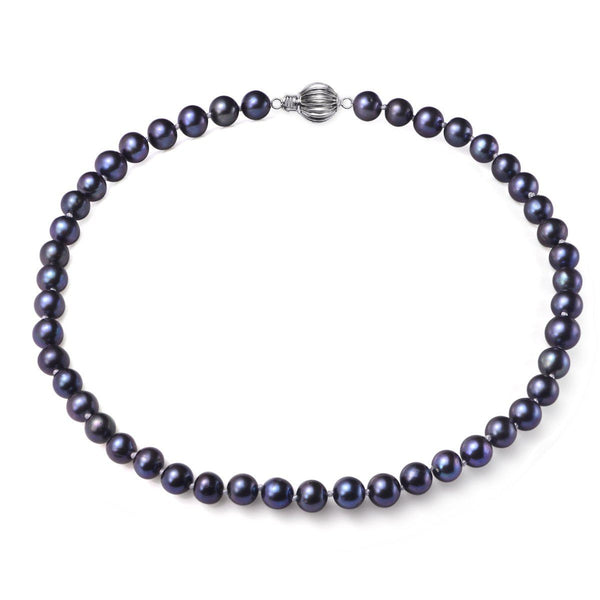 Black, 7-8mm, AAA, Cultured Freshwater Pearl Strand Necklace with 925 Sterling Silver Fluted Ball