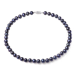 Black 8-9mm, AA+, Cultured Freshwater Pearl Strand Necklace with 925 Sterling Silver Fish Hook