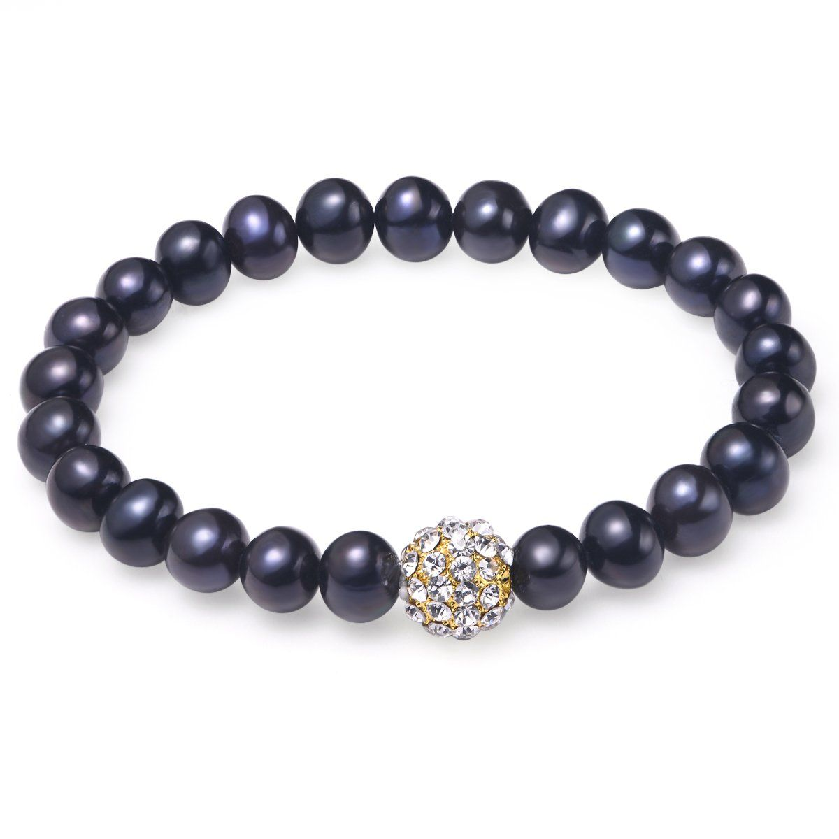 black 8-9mm bracelet freshwater pearl 18k yellow gold plated fireball