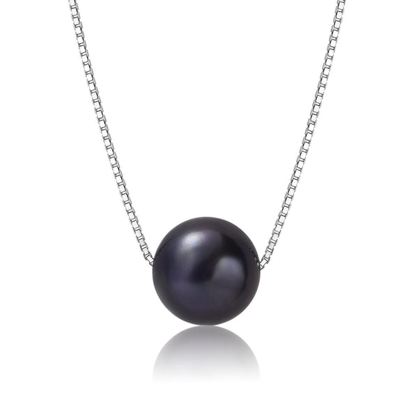 Solitary Black AAA 8-9mm Necklace Freshwater Cultured Pearl 18k White Gold Plated Chain