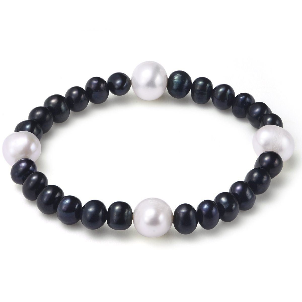 black and white 6-7mm bracelet cultured freshwater pearl
