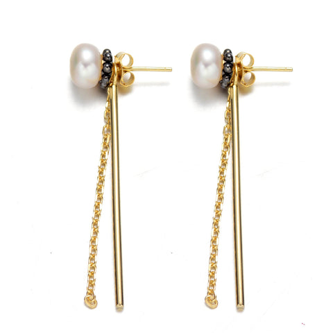 Black and White Earrings Pearl Accent 18k Yellow Gold Plated Drop