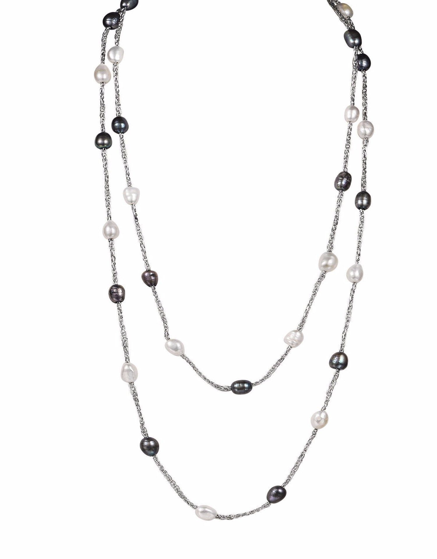 black and white necklace white cultured freshwater pearl chain