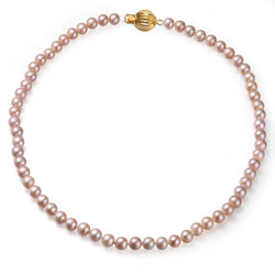 Pink, 7-8mm, AA, Cultured Freshwater Pearl Strand Necklace with 14k Solid Yellow Gold Fluted Ball