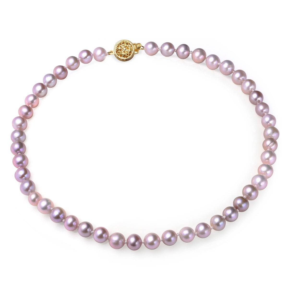 lavender, 6.5-7mm, aaa, cultured freshwater pearl strand necklace with 14k solid gold round filigree