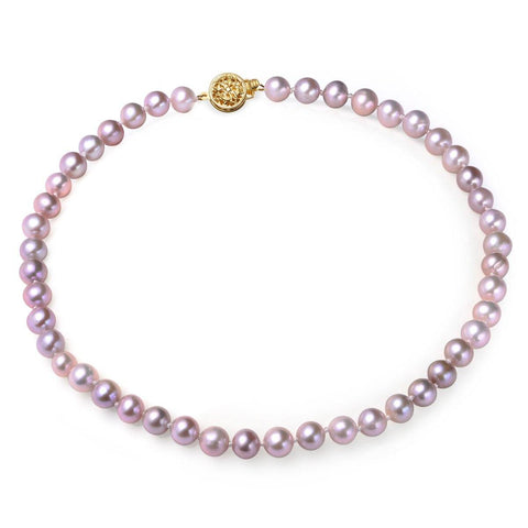 Lavender, 7-8mm, AA, Cultured Freshwater Pearl Strand Necklace with 14k Solid Gold Round Filigree