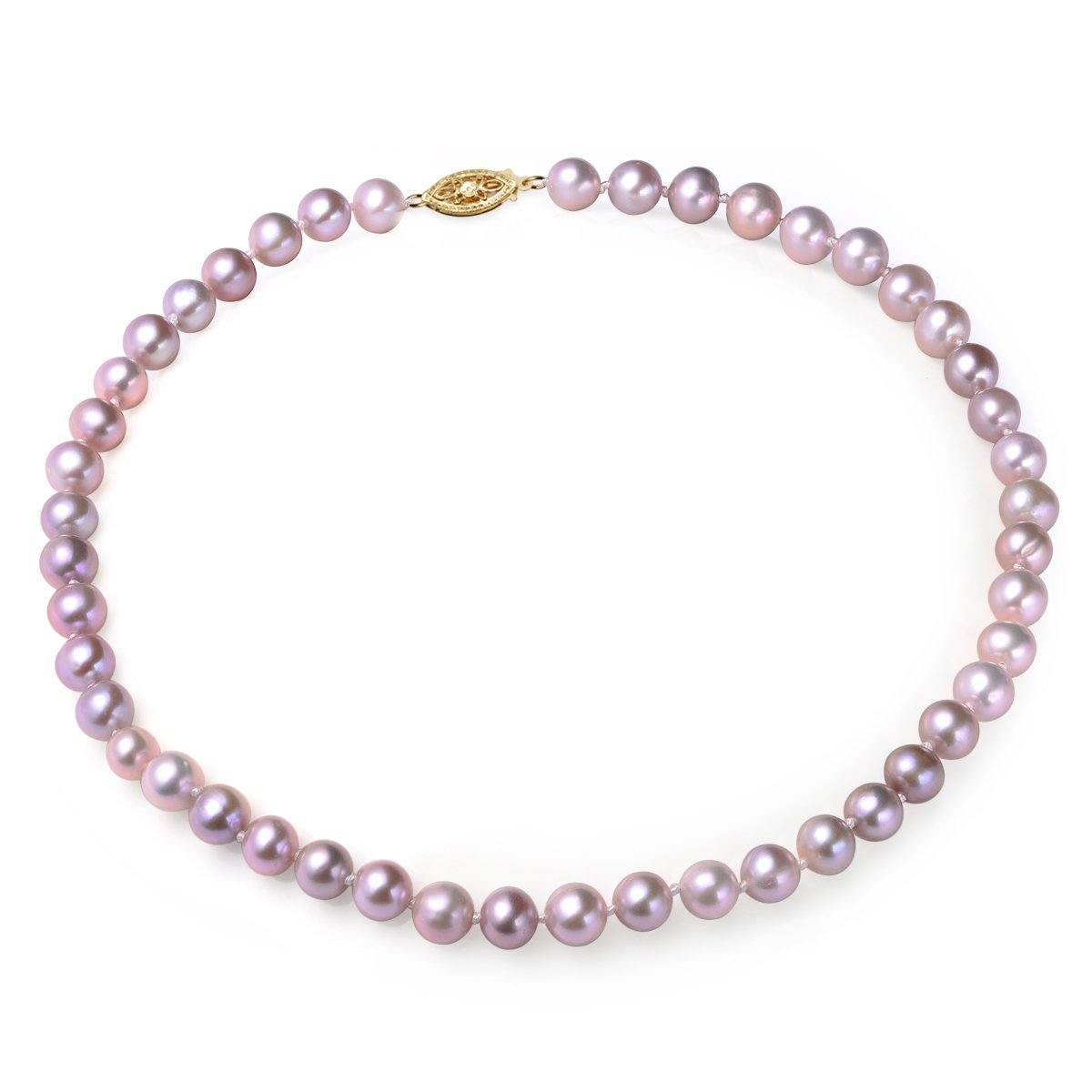 lavender, 7-8mm, aa, cultured freshwater pearl strand necklace with 14k solid yellow gold fish hook