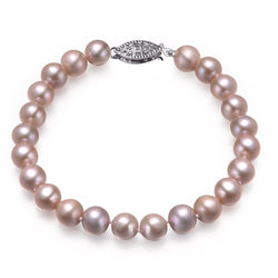 Lavender, 7-8mm, AAA, Cultured Freshwater Pearl Bracelet with 14k Solid White Gold Fish Hook