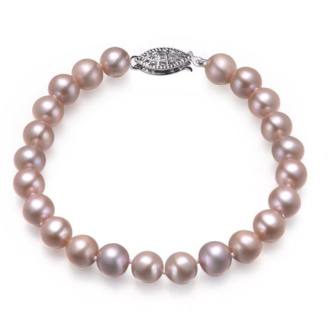Lavender, 8-9mm, AAA, Cultured Freshwater Pearl Bracelet with 925 Sterling Silver Fish Hook
