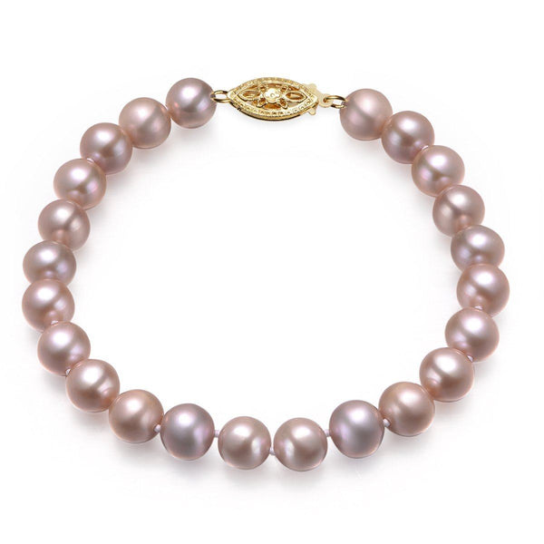 Lavender, 7-8mm, AAA, Cultured Freshwater Pearl Bracelet with 14k Yellow Gold Filled Fish Hook
