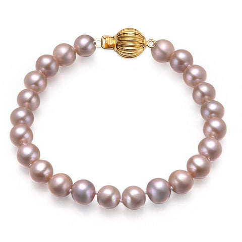 Lavender, 7-8mm, AAA, Cultured Freshwater Pearl Bracelet with 14k Solid Yellow Gold Fluted Ball