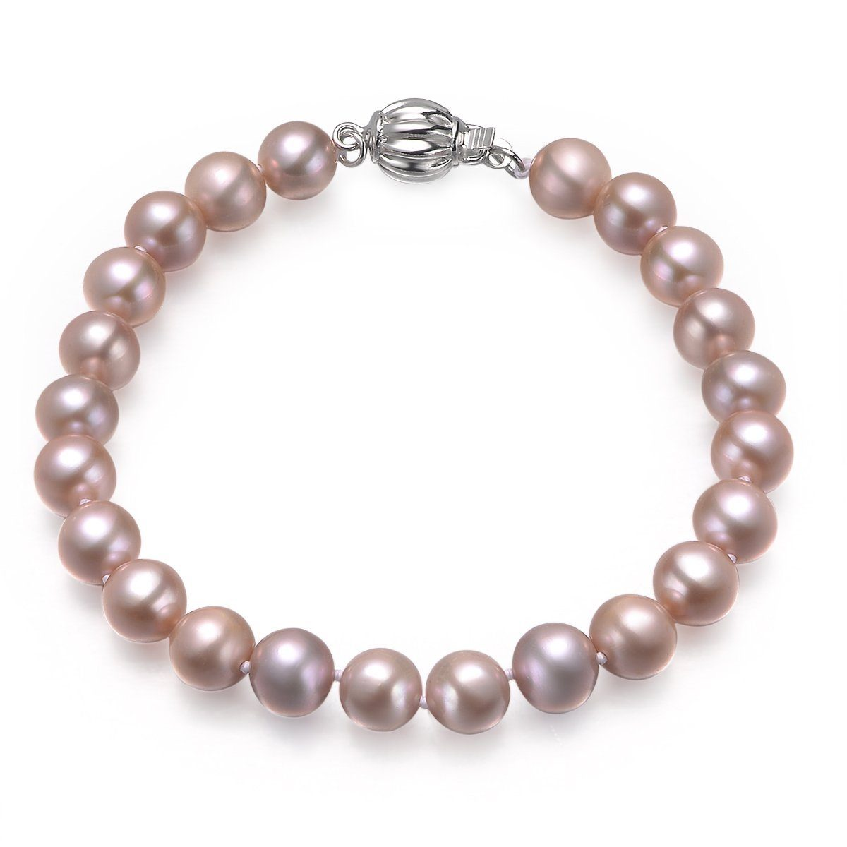 lavender, 7-8mm, aaa, cultured freshwater pearl bracelet with 925 sterling silver fluted ball