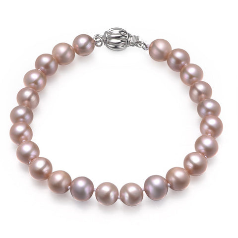 Lavender, 8-9mm, AAA, Cultured Freshwater Pearl Bracelet with 925 Sterling Silver Fluted Ball