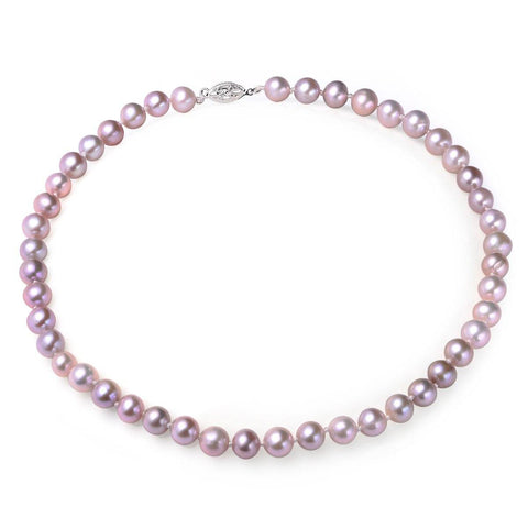 Lavender, 7-8mm, AAA, Cultured Freshwater Pearl Strand Necklace with 14k Solid White Gold Fish Hook