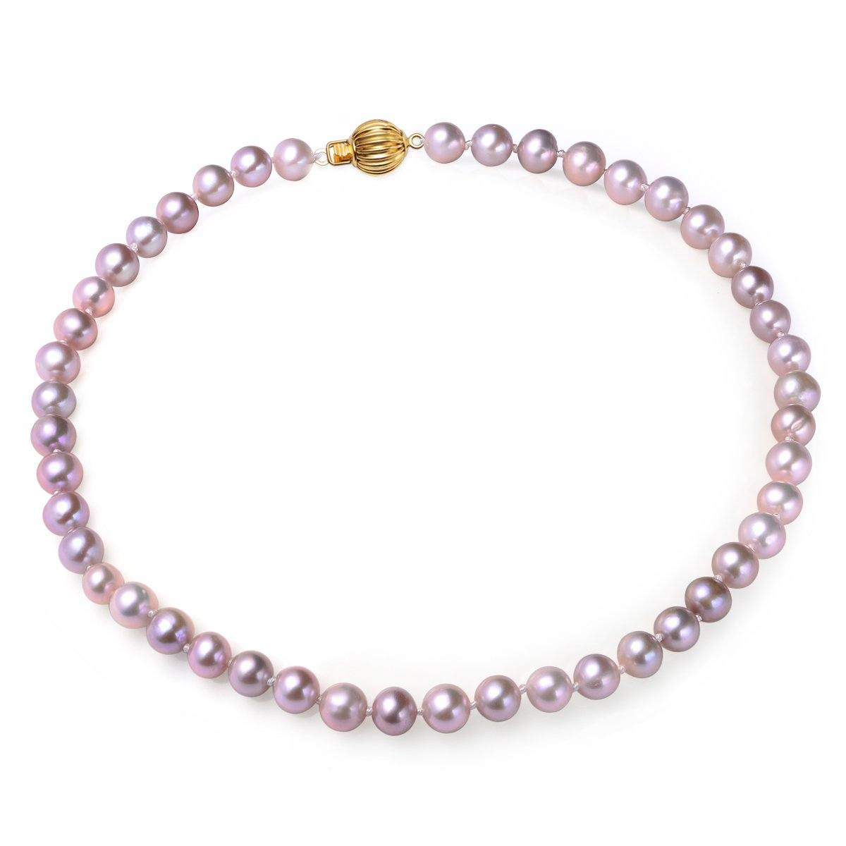 lavender, 7-8mm, aaa, cultured freshwater pearl strand necklace with 14k solid yellow gold fluted ball