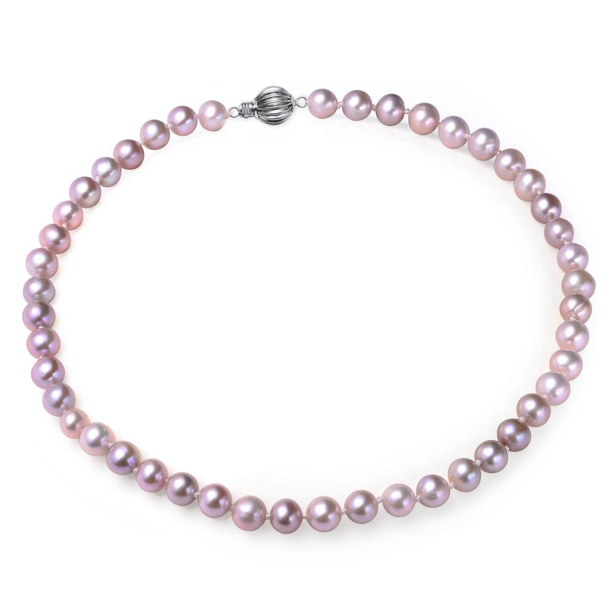 lavender, 7-8mm, aaa, cultured freshwater pearl strand necklace with 925 sterling silver fluted ball