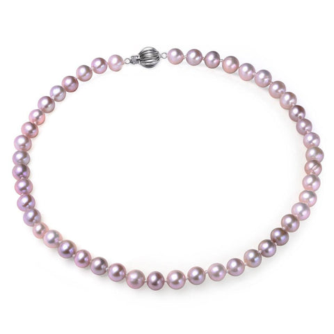 Lavender 8-9mm, AA+, Cultured Freshwater Pearl Strand Necklace with 925 Sterling Silver Fluted Ball