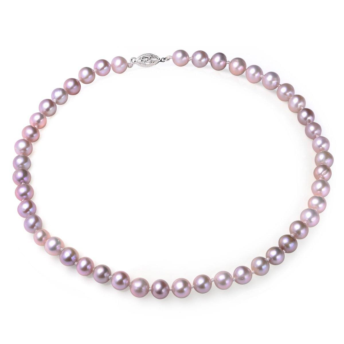 lavender 8-9mm aaa quality cultured freshwater pearl necklace with 14k solid white gold fish hook