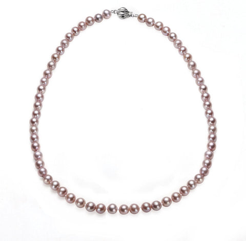 Lavender 8-9mm Necklace Cultured Freshwater Pearl White Gold Fireball